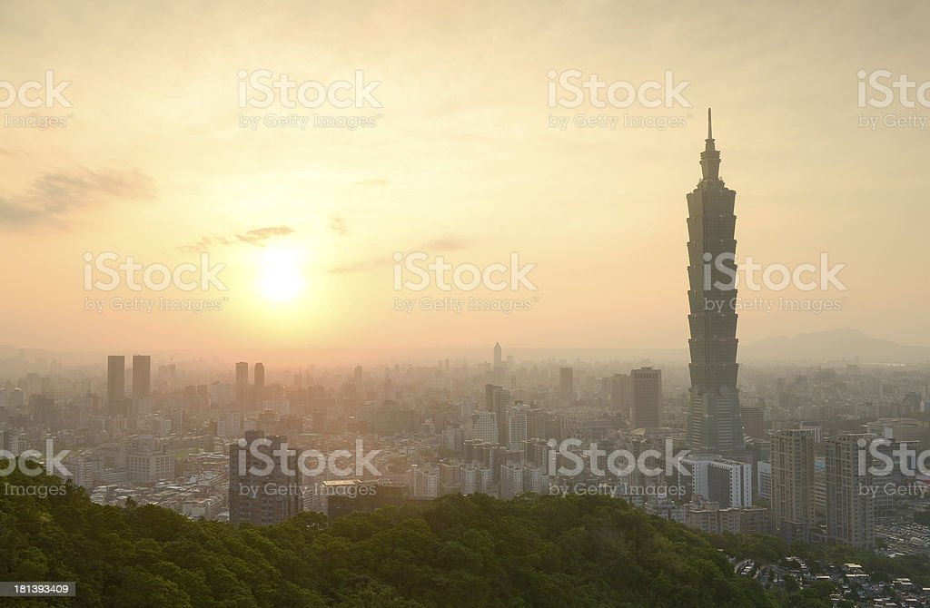 taipei city in sunset time royalty-free stock photo