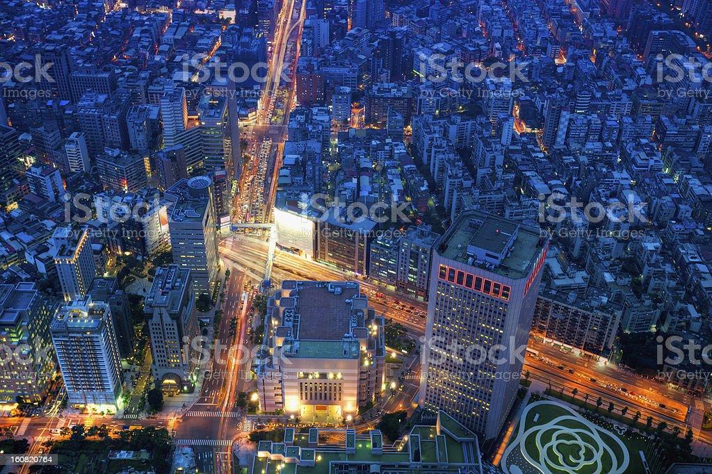 Taipei city night skyline, Taiwan cityscape stock photo