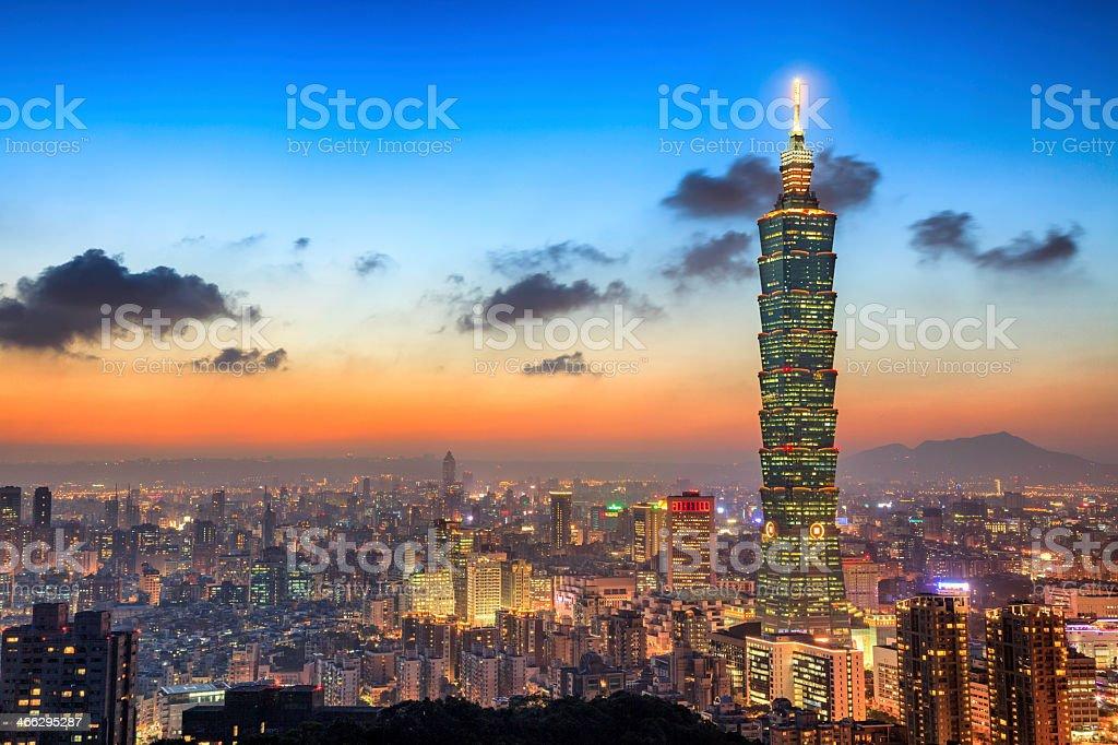 Taipei City Skyline at Night stock photo