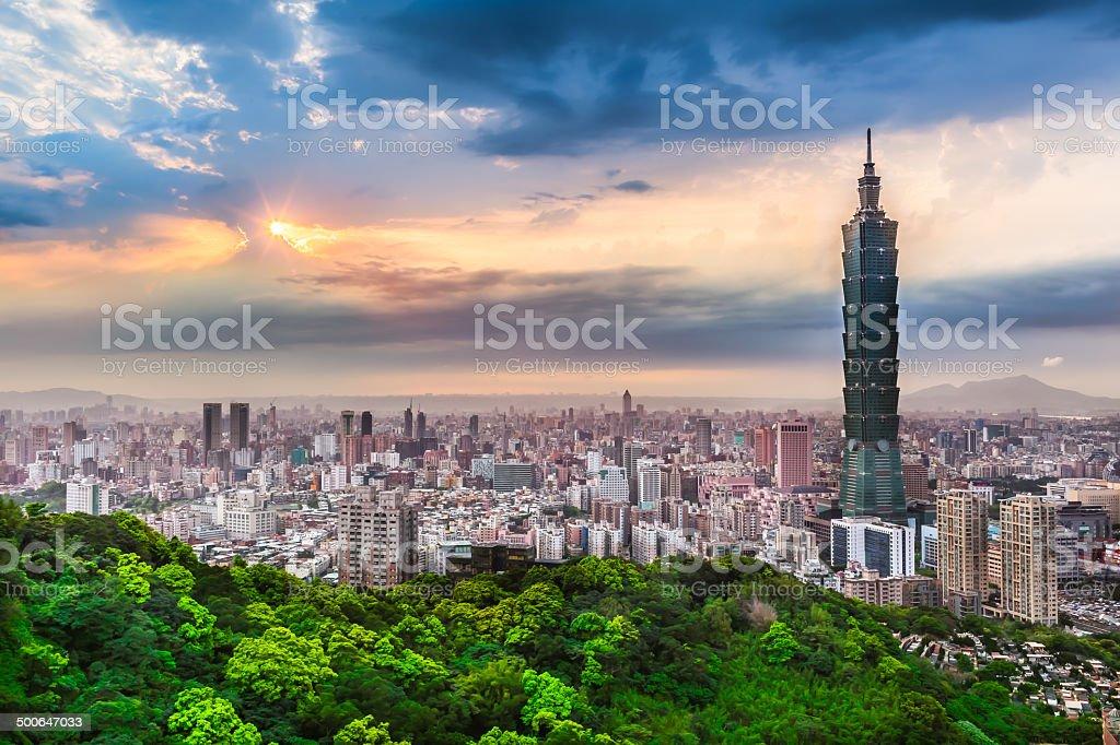 Taipei City View at Evening stock photo