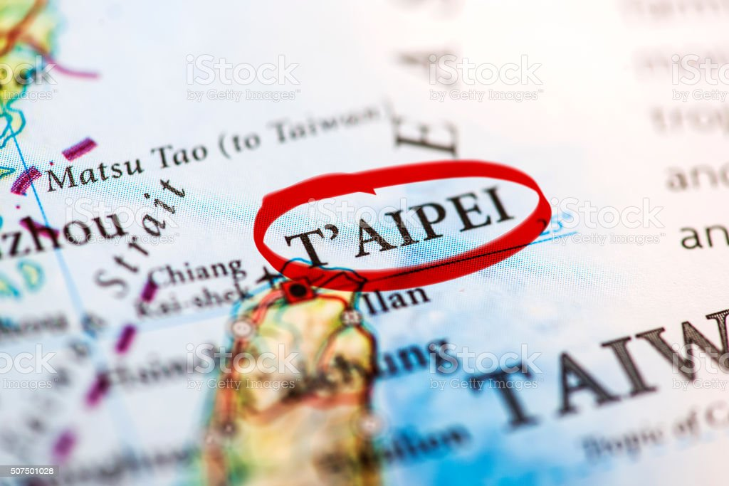Taipei marked on map with red marker stock photo