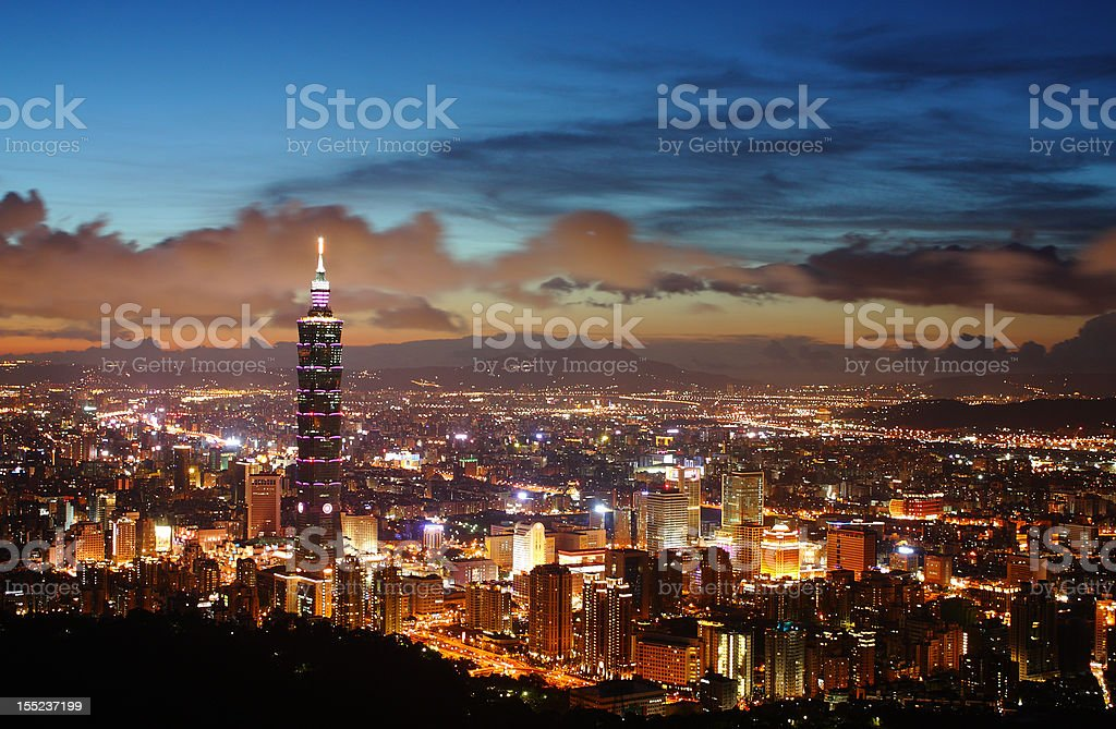 Taipei night scene stock photo