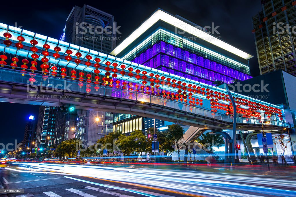 Taipei Nighttime Cityscape royalty-free stock photo