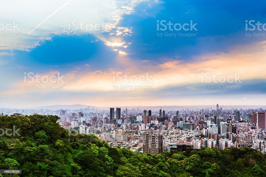 Taipei Outskirts View at Evening stock photo
