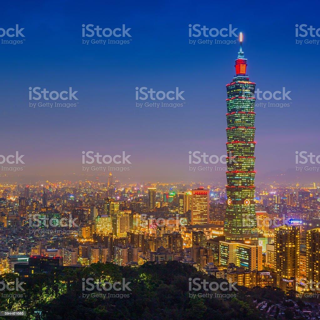 Taipei, Taiwan city skyline at twilight. stock photo