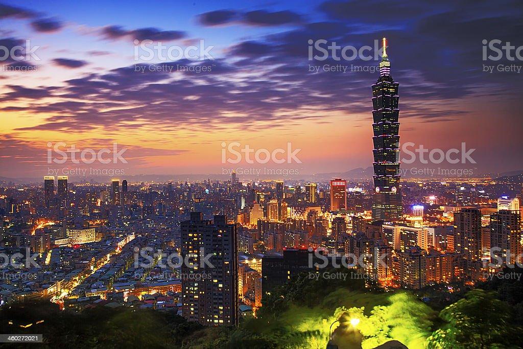 Taipei, Taiwan evening skyline stock photo