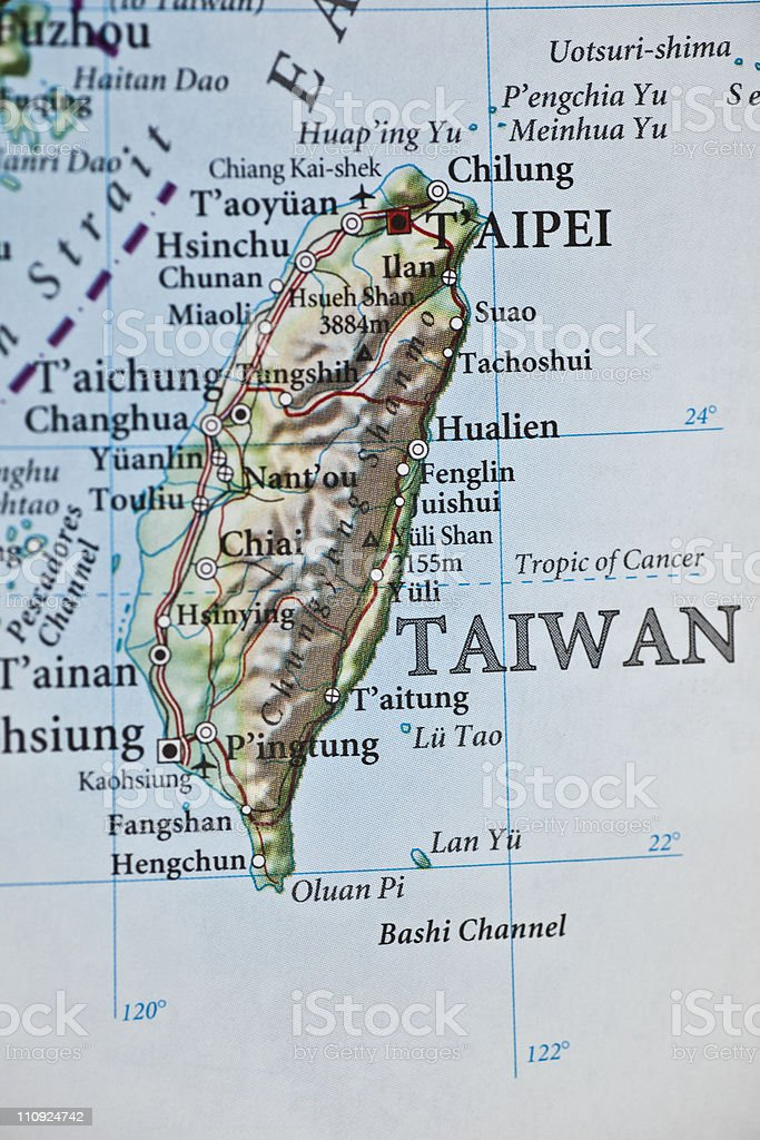 Taipei, Taiwan map royalty-free stock photo