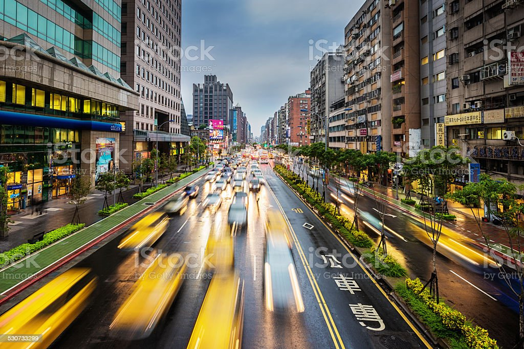 Taipei Taxis, City Traffic Taiwan stock photo