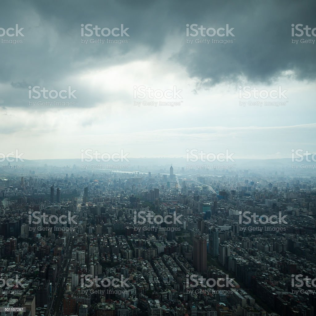 Taipei under Heavy Clouds stock photo