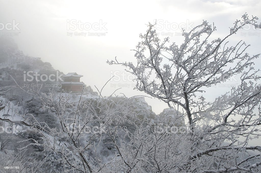 Taishan in the snow royalty-free stock photo