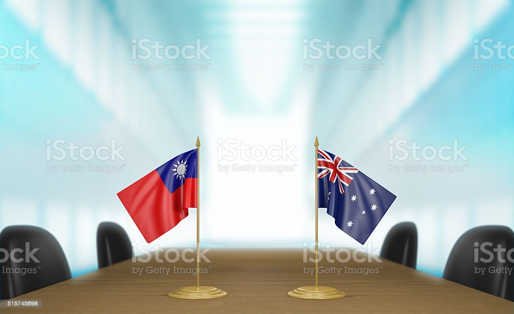 Taiwan and Australia relations and trade deal talks 3D rendering stock photo