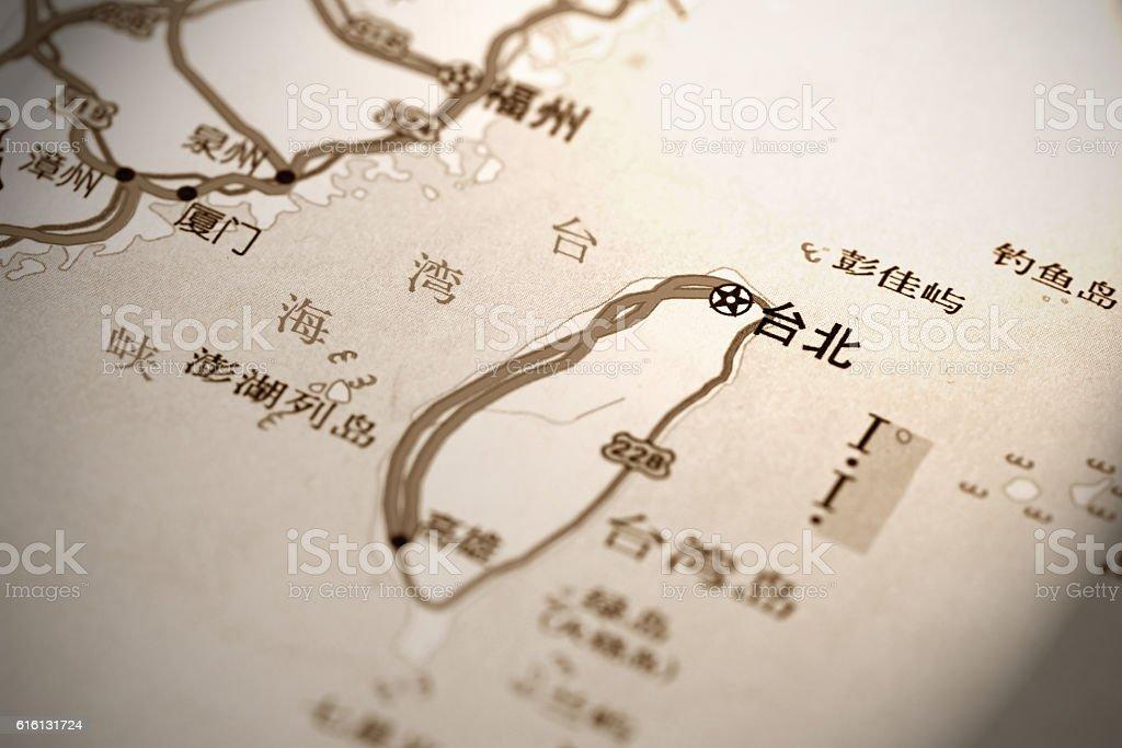 Taiwan and Taipei on Map stock photo