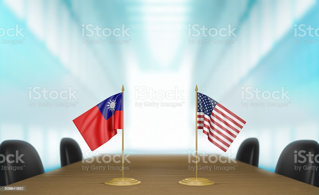 Taiwan and United States relations and trade deal talks stock photo