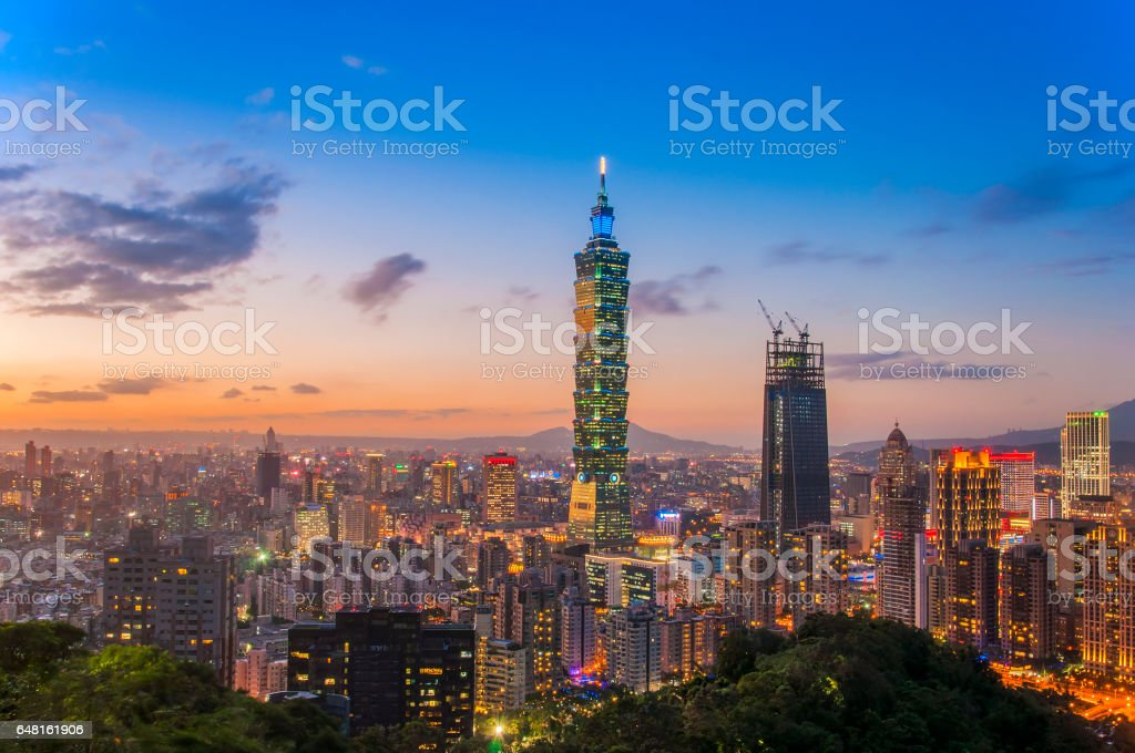 Taiwan city skyline at sunset in twilight time stock photo