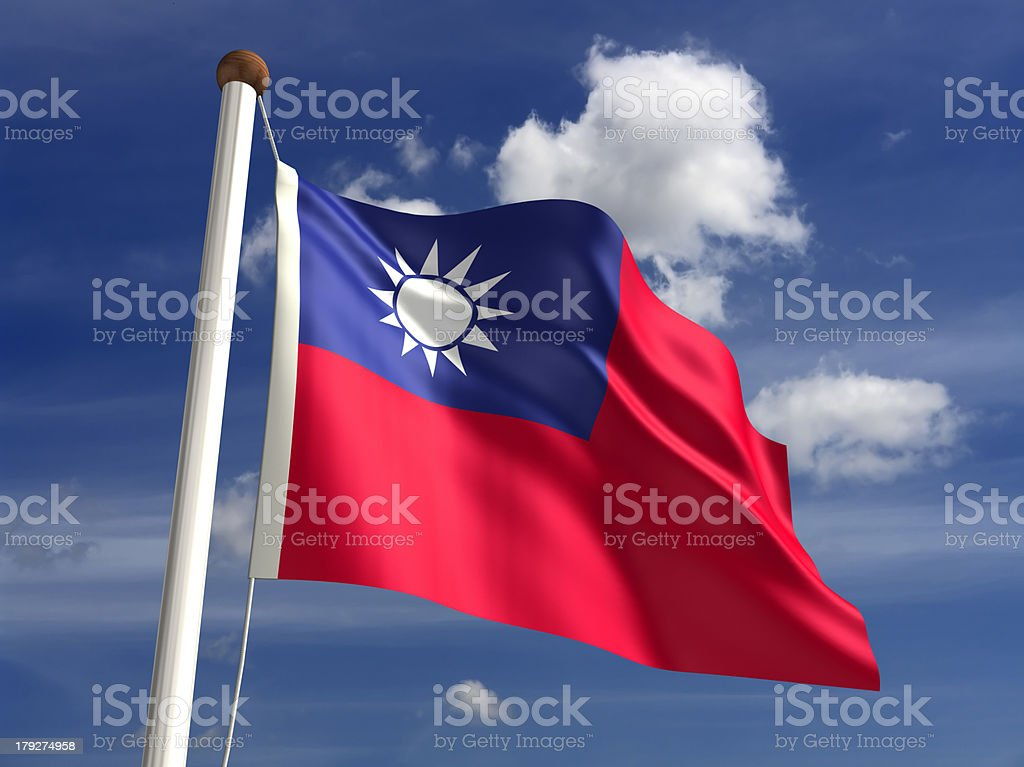 Taiwan flag (with clipping path) stock photo