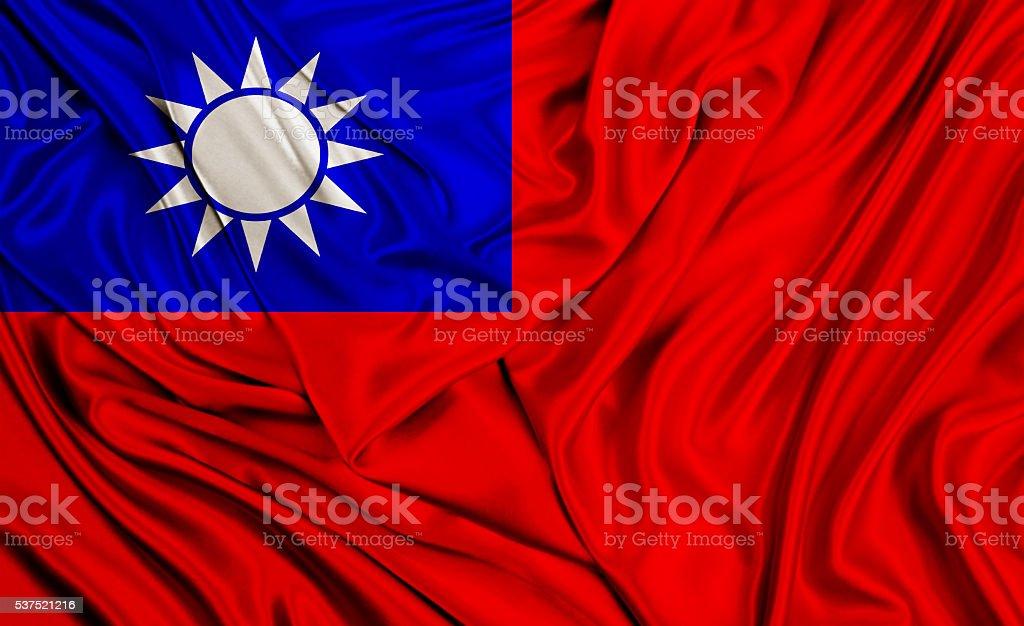 Taiwan flag - silk texture stock photo