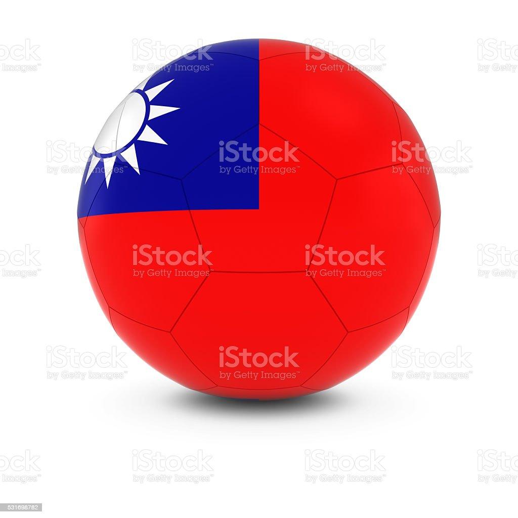 Taiwan Football - Taiwanese Flag on Soccer Ball stock photo