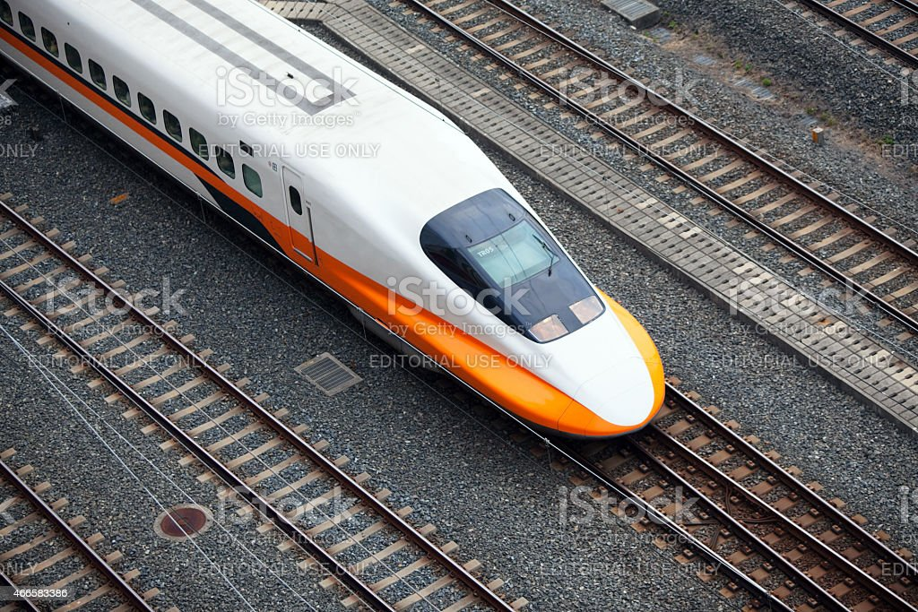 Taiwan High Speed Rail Train from Above stock photo