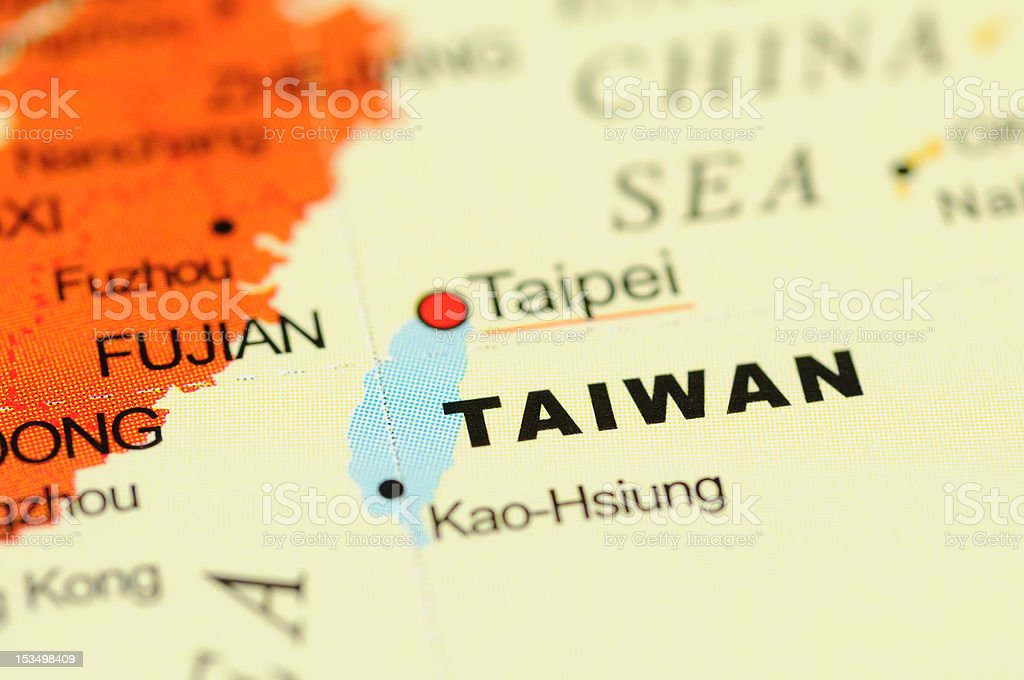 Taiwan on map stock photo