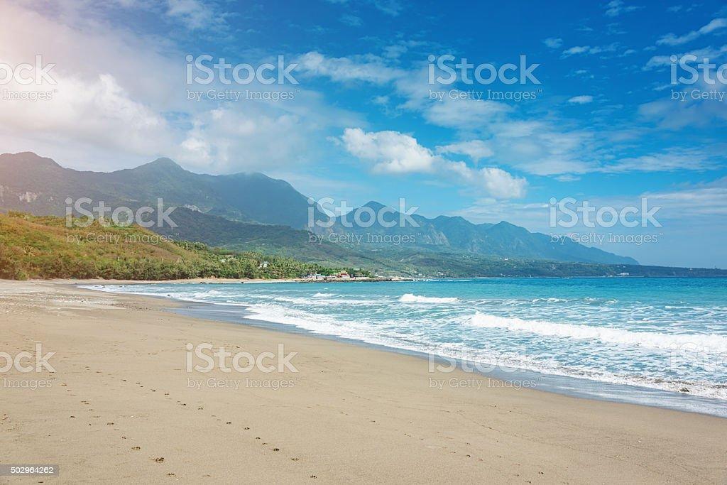 Taiwan Pristine Beach at Taitung East Coast stock photo
