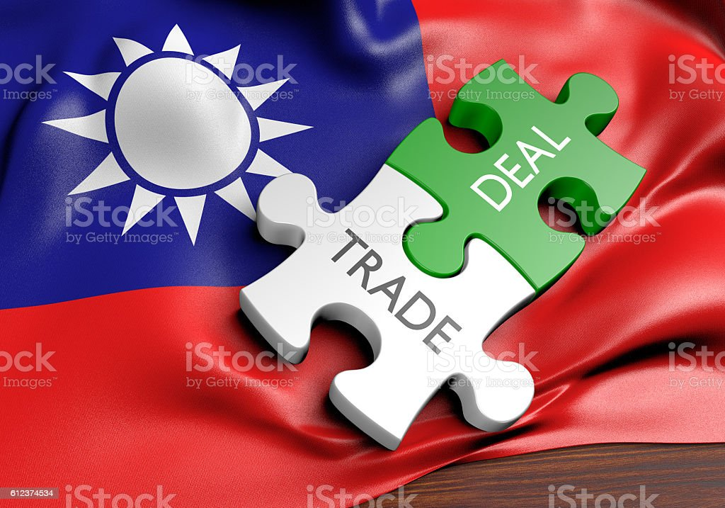 Taiwan trade deals and international commerce concept, 3D rendering stock photo