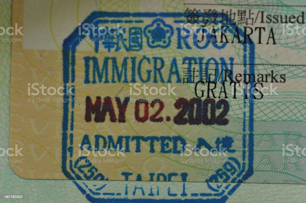 Taiwan Visa stock photo