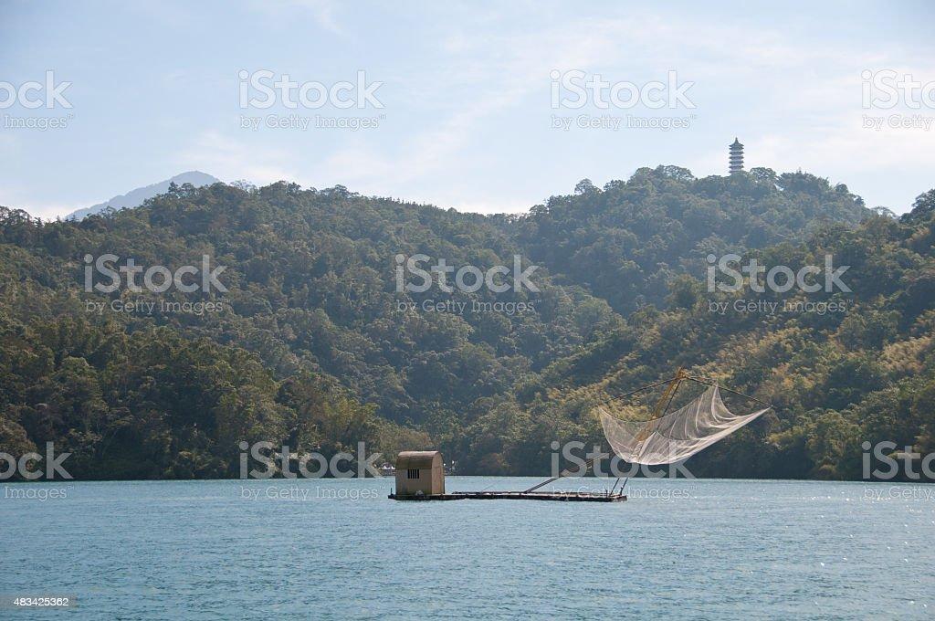 Taiwanese fishing boat at Sun Moon Lake stock photo