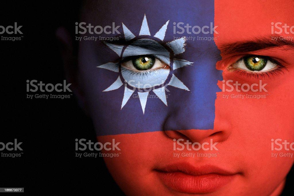 Taiwanese flag boy stock photo