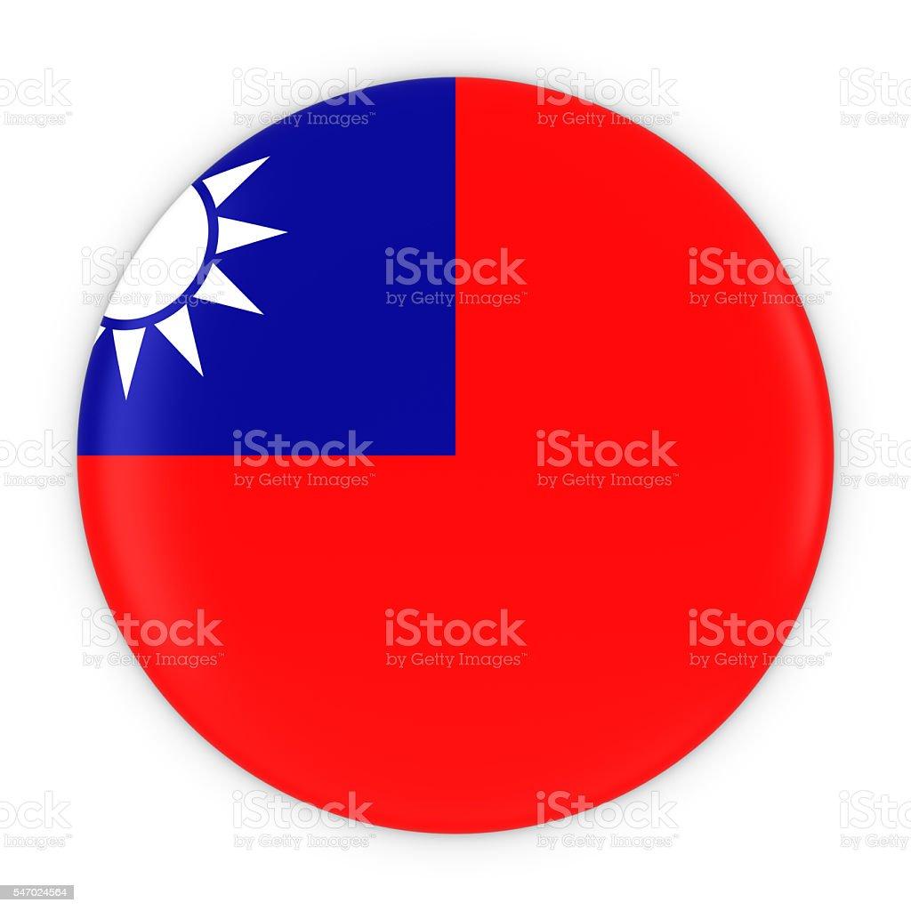 Taiwanese Flag Button - Flag of Taiwan Badge 3D Illustration stock photo
