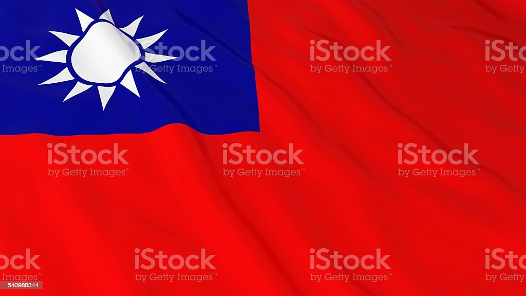 Taiwanese Flag HD Background - Flag of Taiwan 3D Illustration stock photo