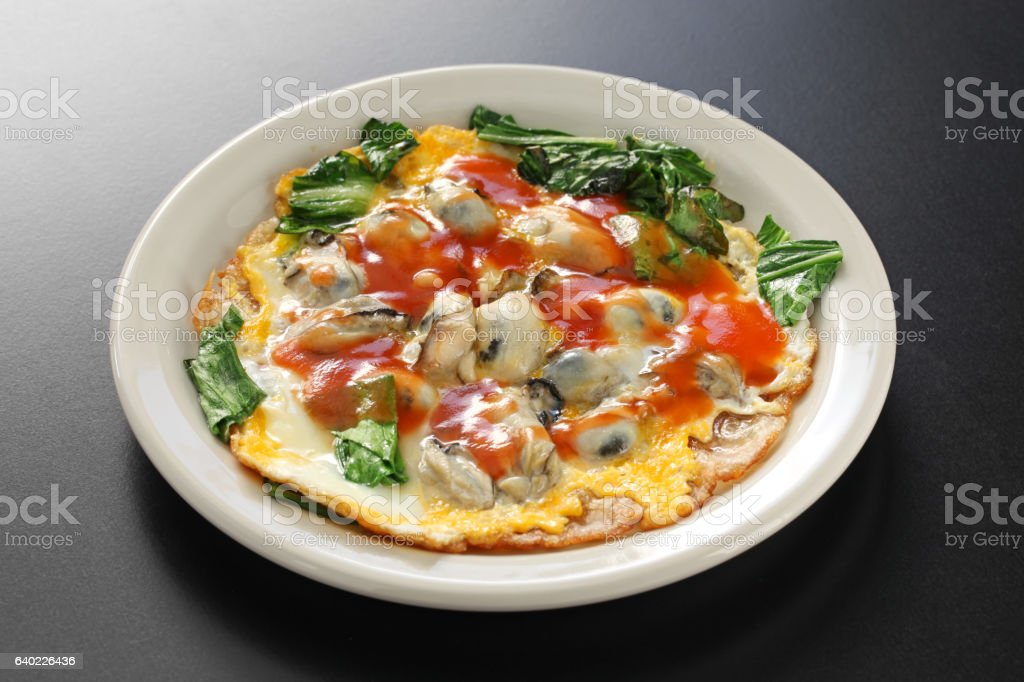 taiwanese oyster omelet stock photo