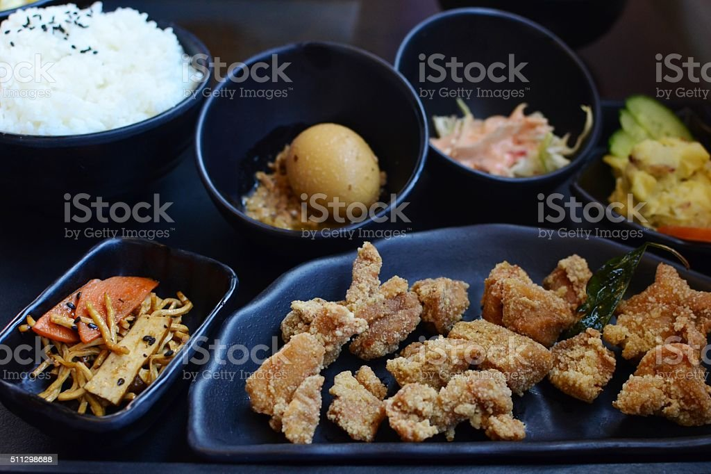 Taiwanese salt and pepper chicken with rice stock photo