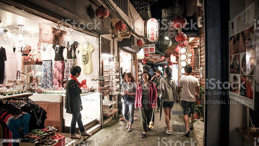 Taiwanese shoppers strolling through Jiufen Old Street stock photo