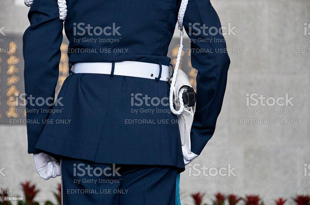 Taiwanese soldier at Sun Yat Sen Memorial hall in Taiwan stock photo
