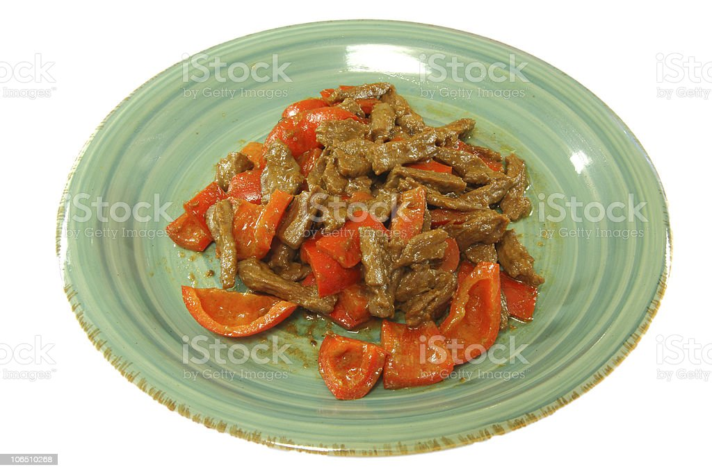 Taiwanese style homemade meal 'Chicken & Bell Peppers Stir-fry' royalty-free stock photo