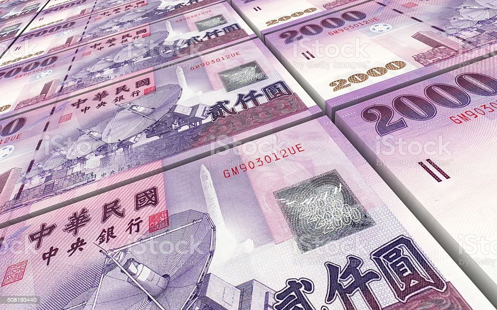 Taiwanese yuan bills stacks background. stock photo