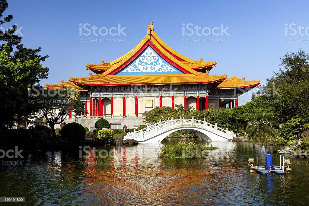 Taiwan's National Theater and Guanghua Ponds royalty-free stock photo
