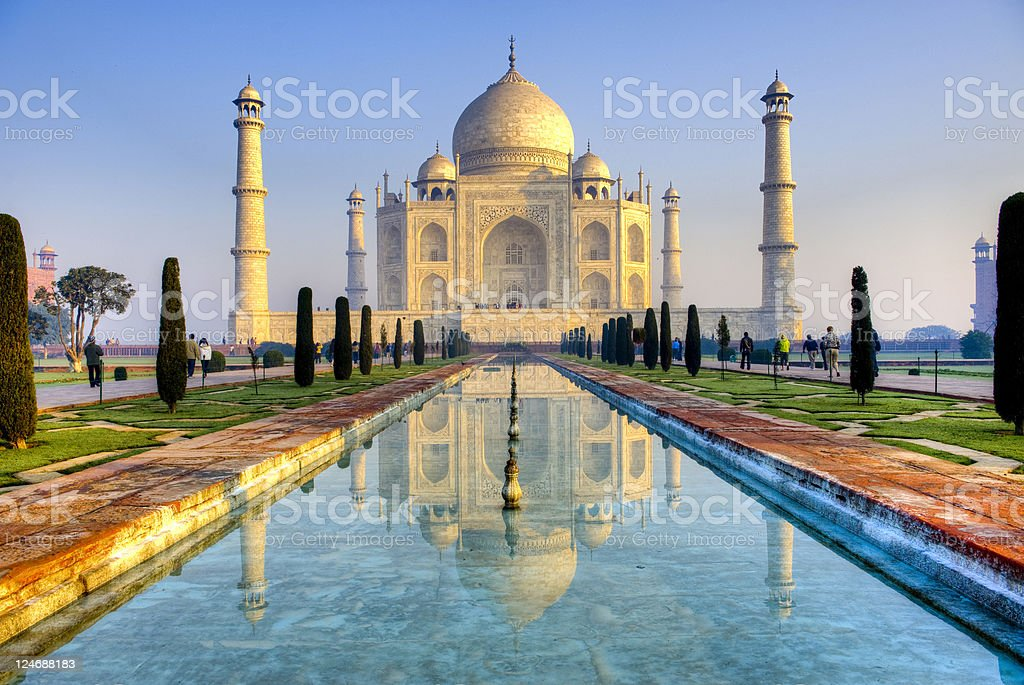 Taj Mahal and its reflection in pool, HDR stock photo