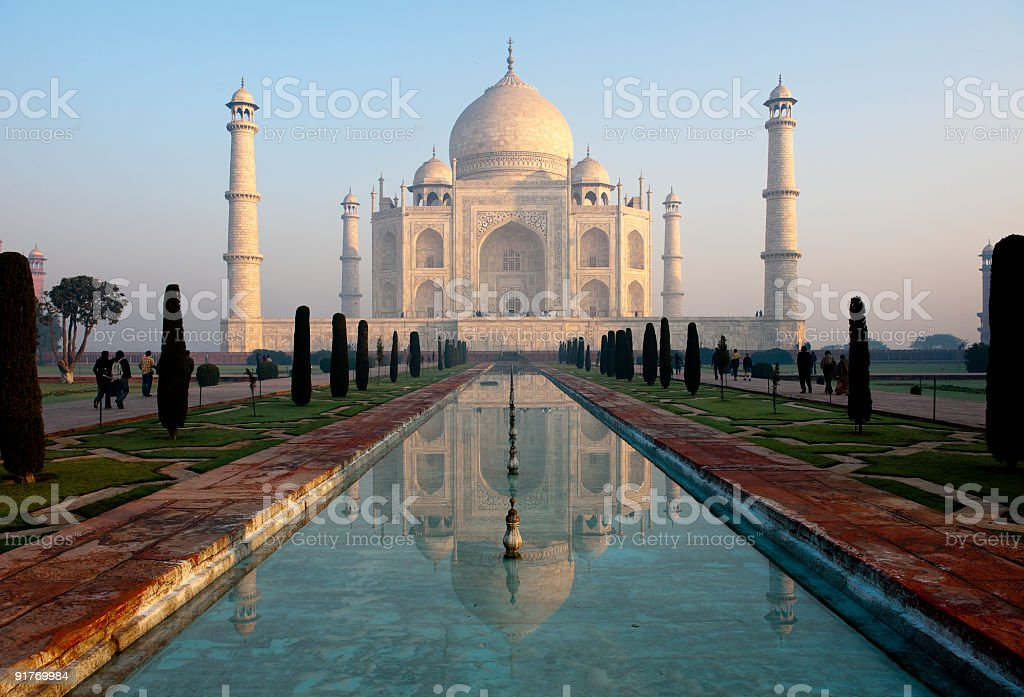 Taj Mahal and its reflection in pool stock photo