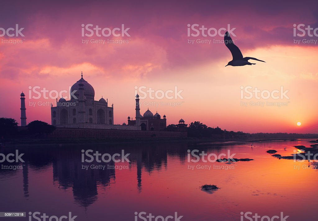 Taj Mahal and the Yamuna River stock photo