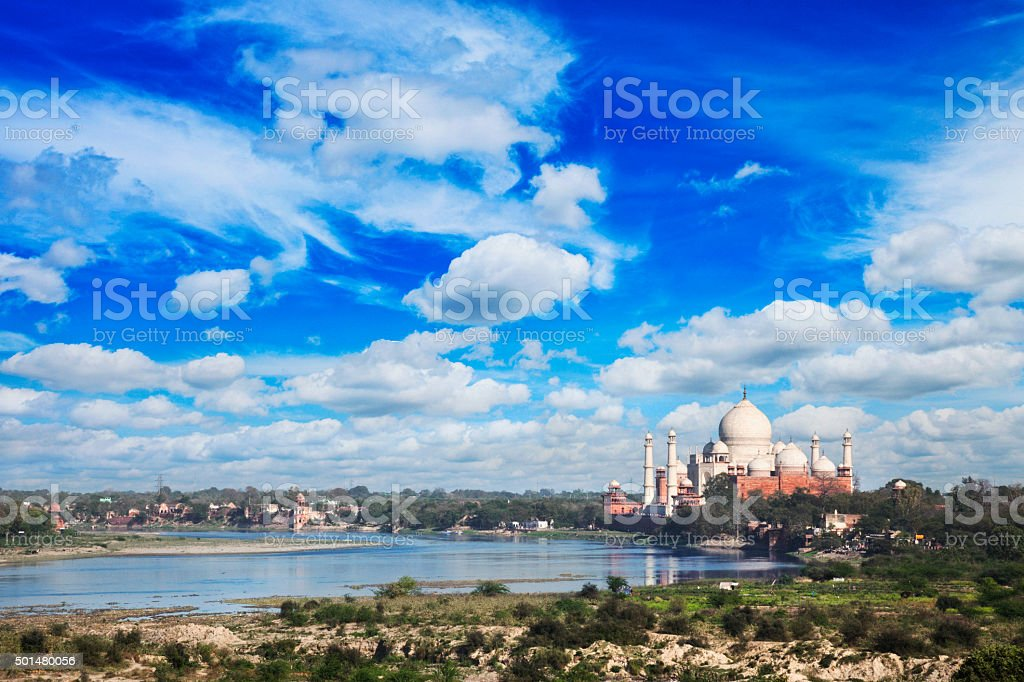Taj Mahal and Yamuna River in Agra, India stock photo