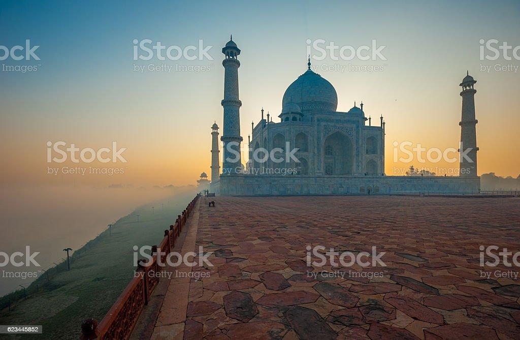 Taj Mahal at sunrise, Agra, India stock photo