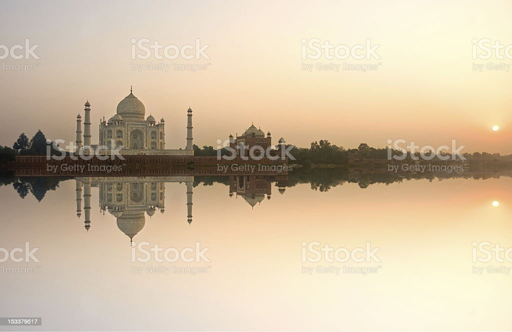 Taj Mahal at sunset, Agra, Uttar Pradesh, India. stock photo