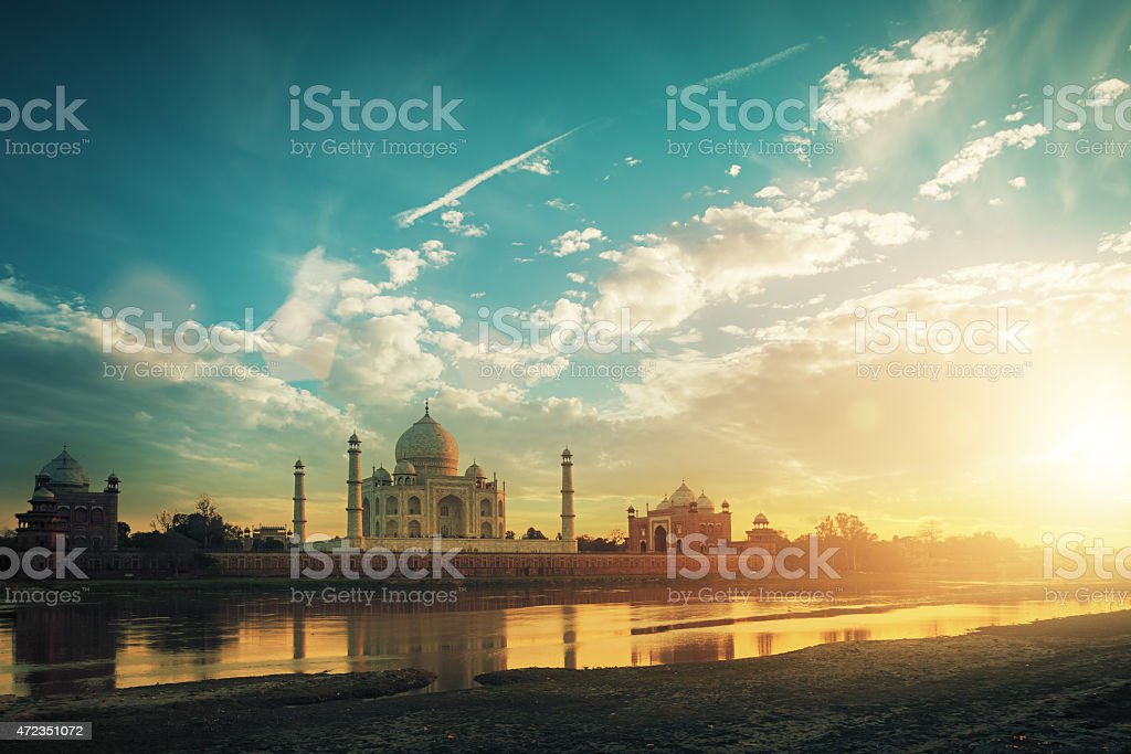 Taj Mahal at sunset stock photo