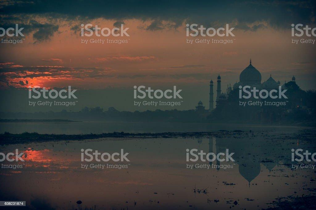 Taj Mahal beforet sunrise with reflections in Yamuna River, XXXL stock photo