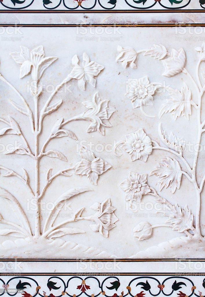 Taj Mahal flower decorations stock photo