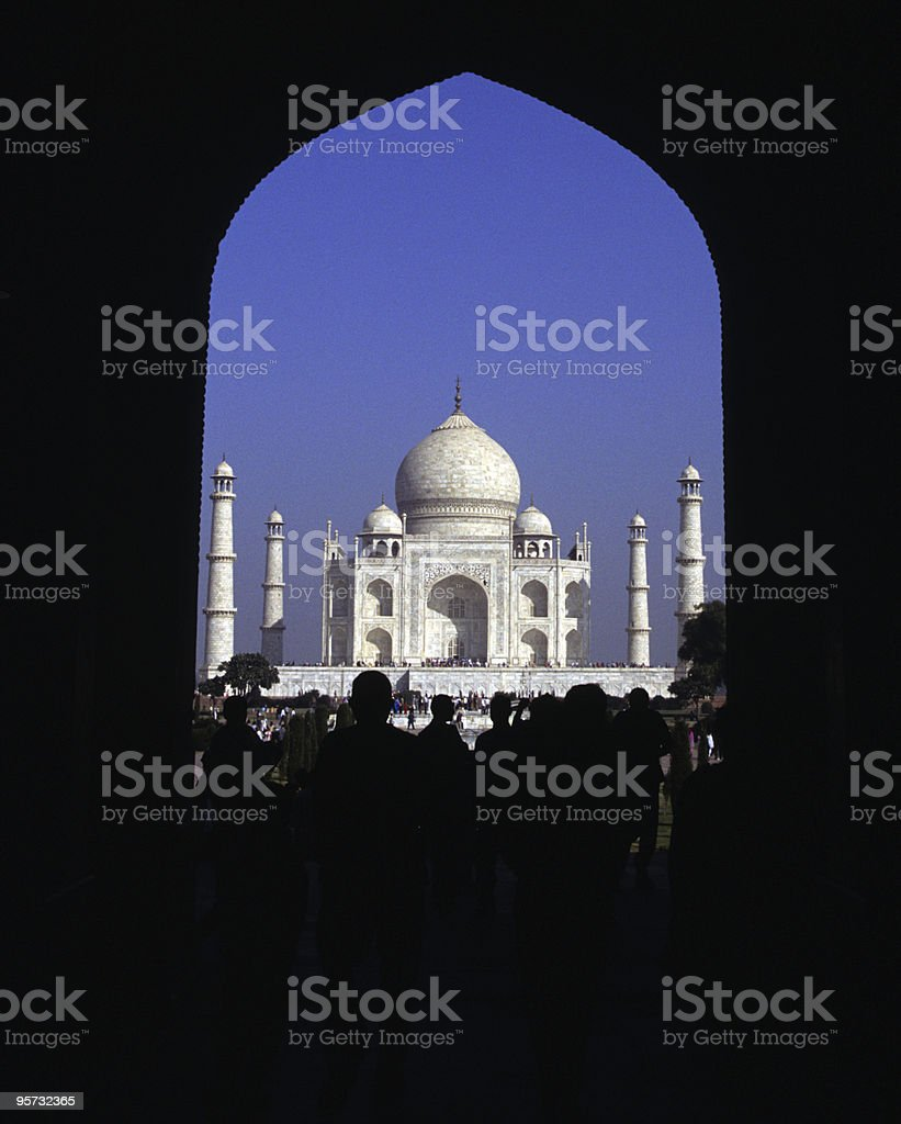 Taj Mahal framed in arch, Agra, India stock photo