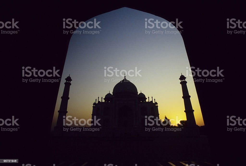 Taj Mahal framed in archway, Agra, India stock photo
