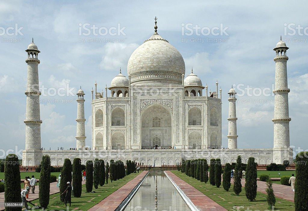 Taj Mahal from reflection pool stock photo
