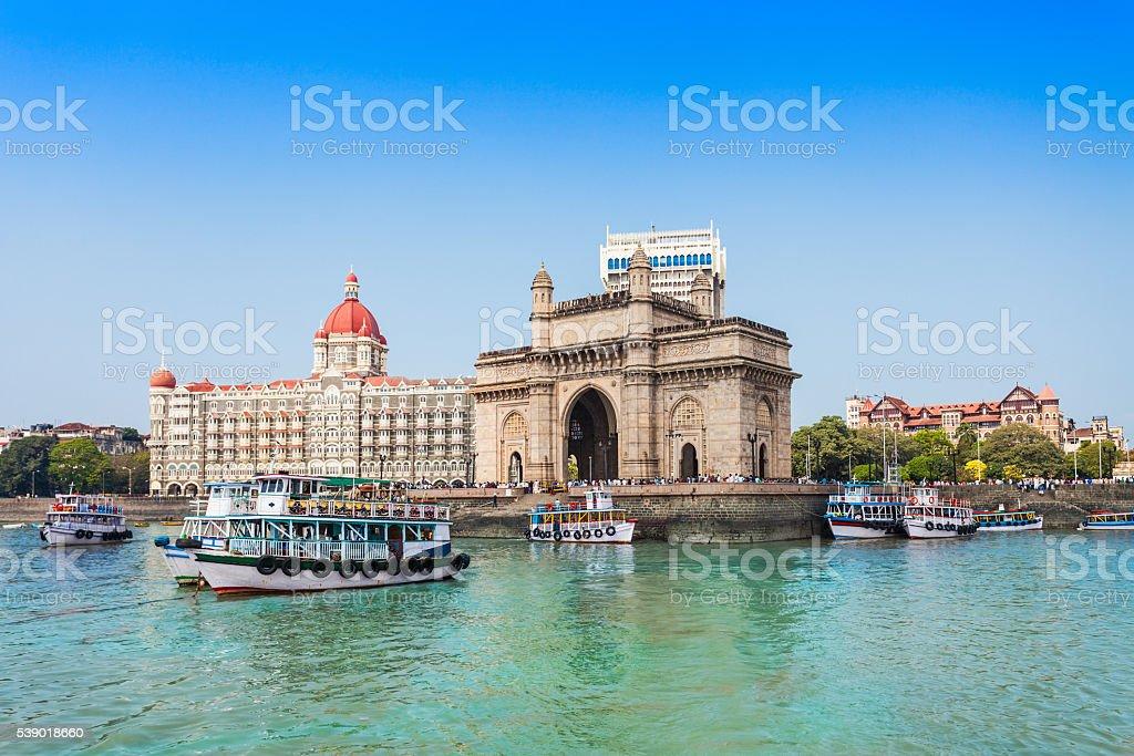 Taj Mahal Hotel and Gateway of India stock photo